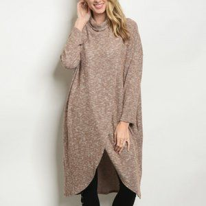 Splice Front Duster Style Tunic Sweater Top